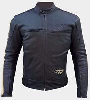 Giacca Moto Giubotto Cuoio Pelle Uomo Protezioni CE Termico Rimovibile 48 50 52