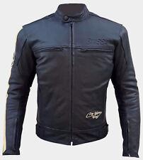 Giacca Moto Cuoio Pelle Uomo Protezioni CE Termico Rimovibile Custom Vintage