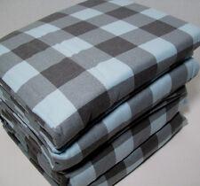 Cuddl Duds Heavyweight Cotton Blue Gray Buffalo Check Flannel King Sheet Set New