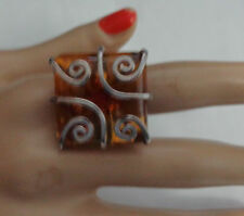 ZIV STERLING RING W, AMBER STONE  MODERN SQUARE TOP W, SILVER DECOR 7.5