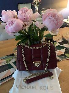 Michael Kors SoHo Large Quilted Leather Shoulder Bag New Original Dark Berry