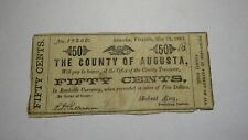 $.50 1862 Staunton Virginia VA Obsolete Currency Bank Note Bill! Augusta County
