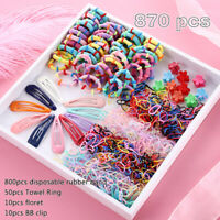 Lots 870Pcs Candy Color Girls Hair Clips Rope Ponytail Holder Kids Hairclip Set