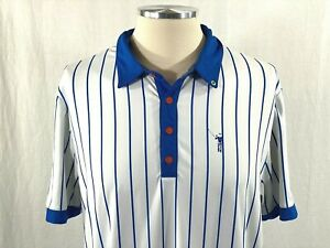 William Murray Golf Mens Large Chicago Cubs Themed Golf Polo Shirt White Blue