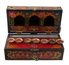Temple tibetain -Autel de voyage en bois peint avec bols à offrandes-3508-HG 41