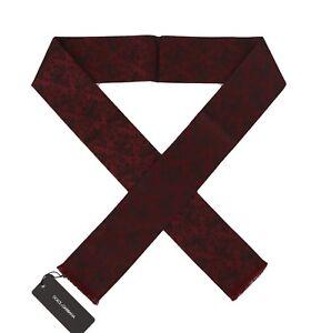 NEW DOLCE & GABBANA Scarf Bordeaux 100% Silk Black Floral Necktie s. 140x25
