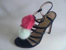 RIVER ISLAND Pom Pom Black Strappy Sandals UK Size 4