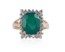 Pave 3.98 Cts Natural Diamonds Emerald Cocktail Ring In Fine 18Karat Yellow Gold