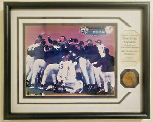NY Yankees 1999 World Series Champions Plaque Bronze Medallion Framed #697/1999