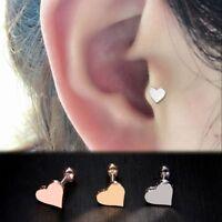 2pcs Piercing Jewelry Tragus Earrings Cartilage Helix Heart Shape Ear Studs 2020