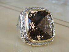 $2950 DAVID YURMAN 18K,SS DIAMOND EXTRA LARGE SMOKY QUARTZ RING