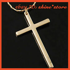 9K GOLD FILLED PLAIN CROSS CRUCIFIX WOMENS MENS SOLID NECKLACE PENDANT JEWELLERY