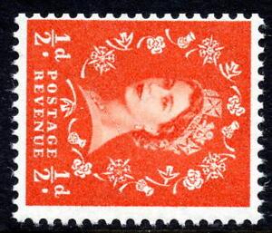 1958-65 ½d Orange-Red SG570a Crowns Sideways Watermark Wilding Unmounted Mint