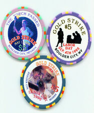 New listing 3 Different $5 Gold Strike Chips 95 & 96 Labor Day 96 The Torch Passed Free Ship