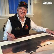 P-47 Hell Hawk & Sherman Tank Art Print Clarence Smoyer WWII Autographed Print!