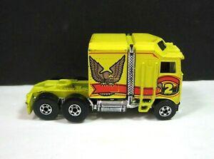 1982 THUNDER ROLLER Hot Wheels Semi Truck Yellow Workhorses Mattel Big Rig