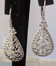 Natural Rounds Diamonds, Chandelier Sterling Silver 925 Earrings,Lever Back
