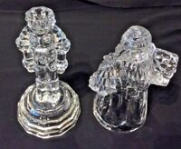 CHRISTMAS PAIR OF CRYSTAL CANDLESTICKS ONE SANTA ONE NUTCRACKER EUC
