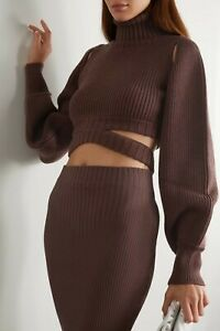 ANDREA ADAMO Cropped cutout ribbed-knit turtleneck sweater, Chocolate, size S