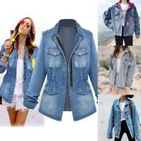 Plus Size Casual Womens Ladies Jacket Loose Denim Jeans Chain Jacket Pocket Coat