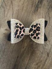 Beautiful Handmade 4 Inch Leopard Print Glitter Hair Bow