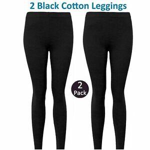 2 PACK NEW Girls Black Plain Cotton Full Length School Legging Casual age 7-13