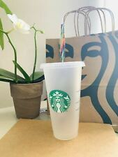 Starbucks Mermaid Reusable Frosted Cold Cup Tumbler 24 oz with rainbow strew