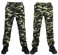Mens Elasticated Camouflage Trousers Cargo Combat Lightweight Work Pant Bottoms