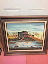 BS5 Gorgeous Mallard Ducks Old Farm Pond PLYEX CANVAS BOARD GRUMBACHER painting