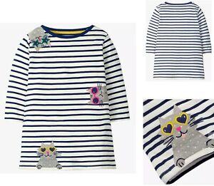 Girls MINI BODEN Tunic Dress Long Sleeved Cotton Navy Striped Jersey Cute Cats