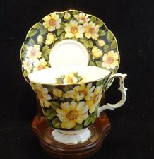 Royal Albert DIANA Tea Cup, Yellow Flowers Black Chintz Series Cup and Saucer