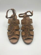 Tommy Bahama Tan Tassels Leather Wedge Strappy Sandals Size 8