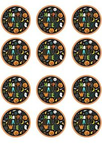 Halloween Edible Icing cupcakes toppers 12 x 2 inches Set 7