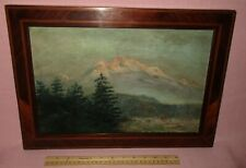 Antique American Oil Painting Impressionist Western Mountain Scene Landscape