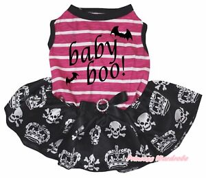 Baby Boo Halloween Pink Striped Top Skull Crown Tutu Pet Dog Dress Puppy Clothes