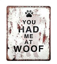 Metal Tin Sign Dog Lover Gift You Had Me At Wolf Rustic Yard Garden Home Decor
