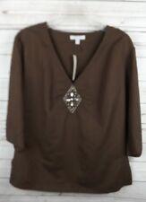 New Bogari Linen Blend Tunic XL Brown Beads 3/4 Sleeve