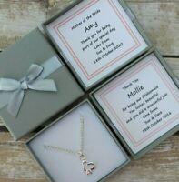BRIDESMAID HEARTS NECKLACE PERSONALISED GIFT BOX FLOWER GIRL THANK YOU KEEPSAKE
