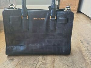 Michael Kors Dillon Satchel Bag Navy Embossed Leather