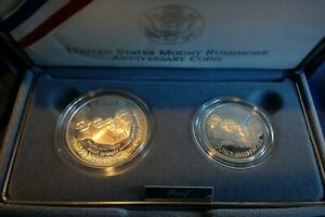 1991 U.S. Mint Mount Rushmore Anniversary Two (2) Coin Proof Set w/ Box & COA