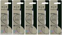 5 x Parker Ball Point Pen Refill Refills, Medium Tip, Black Ink, Jotter, Classic