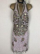 Bnwt Aftershock Vintage Fringe Flapper Gatsby Cocktail Party Sequin Dress 12 14