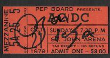 Bon Scott AC/DC Autograph & Concert Ticket Reprint On Genuine 1970s Card *9029