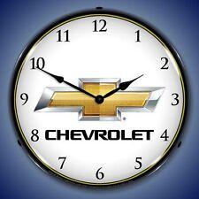 NEW CHEVROLET BOWTIE RETRO ADVERTISING BACKLIT LIGHTED CLOCK - FREE SHIP*