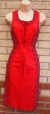 PER UNA MORROCAN EMBROIDERED PRINT BELTED A LINE TUBE SUMMER RED DRESS 12 M