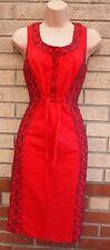 PER UNA marocain imprimé brodé belted une ligne tube d'été robe rouge 12 m
