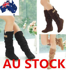 WOMENS LADIES MID CALF BOOTS LACE CUFF WINTER FLAT CASUAL SHOES  AU SIZE 4-7