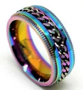 Tungsten Ring Rainbow Band  Wedding Tungsten Carbide Spin Chain Gay Pride Ring