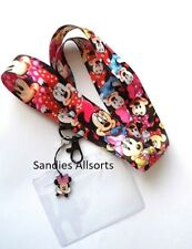 Disney Minnie / Mickey Mouse Lanyard Neck Strap + Clear PVC ID Holder + Charm