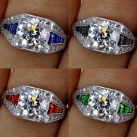 Vintage 925 Silver White Topaz Sapphire Engagement Wedding Ring Wholesale 6-12